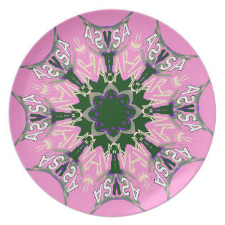 Beautiful baby pink  purple shade motif monogram plate