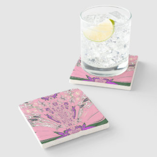 Beautiful baby pink  purple shade motif monogram stone coaster