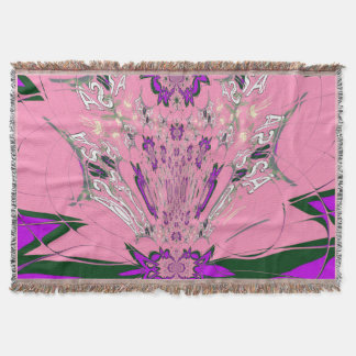 Beautiful baby pink  purple shade motif monogram throw blanket