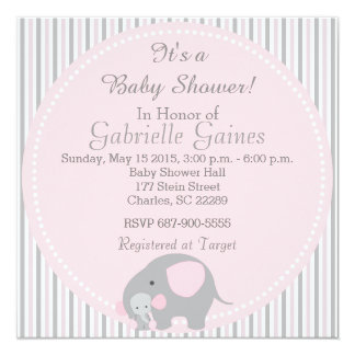 Beautiful Baby Shower Pink Elephant Card
