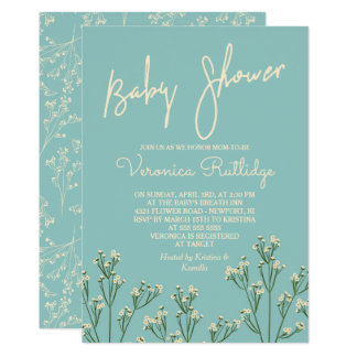 Beautiful Baby's Breath Baby Shower Card