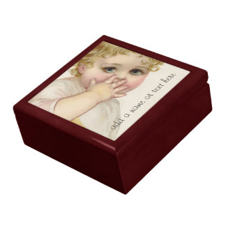 Beautiful Baby's Kiss Vintage Illustration Trinket Box