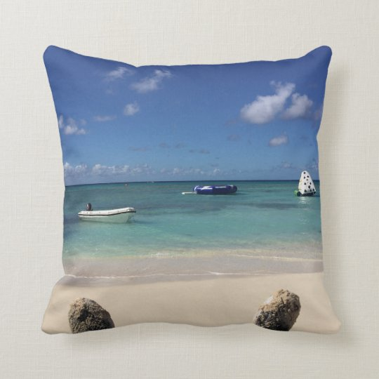 Beautiful Bahama Shore Ocean Beach Landscape Throw Pillow