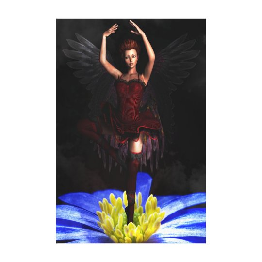 Beautiful Ballerina With Wings Flower Canvas Print