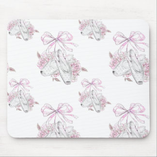 Beautiful Ballet Shoes with pink Flowers Mouse Pad