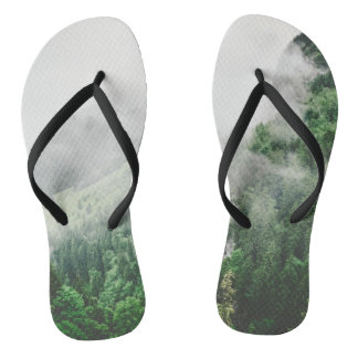 Beautiful Bavarian Germany foggy forest mountains Flip Flops
