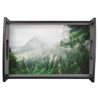 Beautiful Bavarian Germany foggy forest mountains Serving Tray