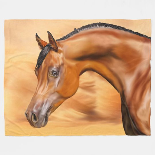 Beautiful Bay Arabian Horse Fleece Blanket