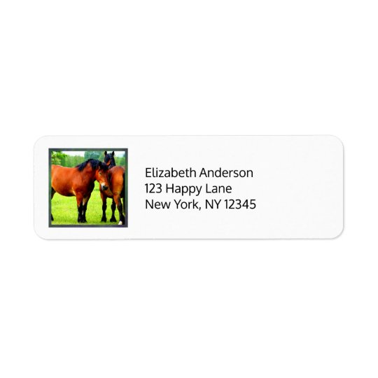 Beautiful Bay Draught   Horses In Lush Green Return Address Label