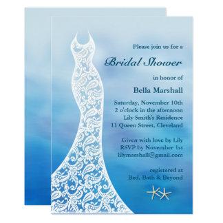 Beautiful Beach Bridal Shower Watercolor - blue Card