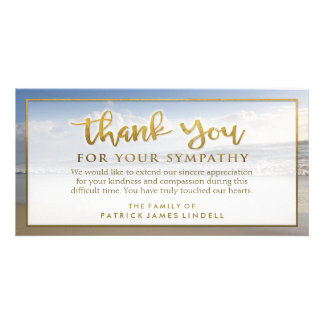 Beautiful Beach Golden Thank You Sympathy Card