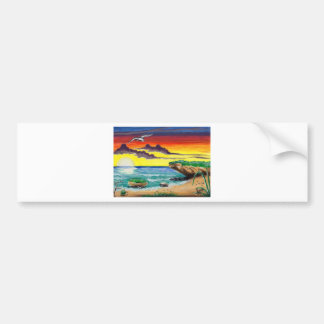 Beautiful Beach Hand Painted Paradise Bumper Sticker