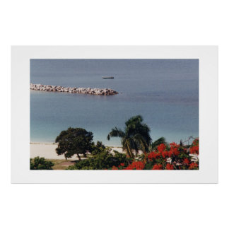Beautiful Beach in Montego Bay Large Canvas Print
