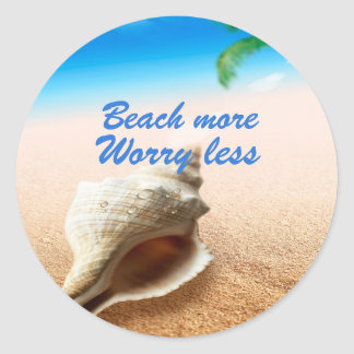 Beautiful Beach More Worry Less Round Sticker