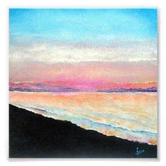 Beautiful Beach Painting of Sunset Soft Pastels Photo Print