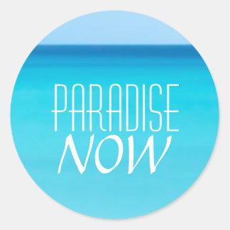 Beautiful Beach Paradise Now Classic Round Sticker