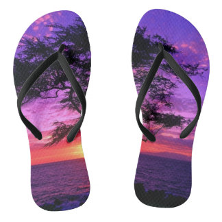 Beautiful beach sunset image flip flops
