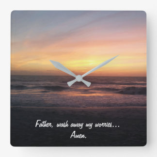 Beautiful Beach Sunset Picture Prayer Quote Square Wall Clock