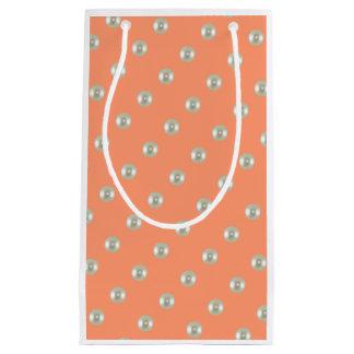 Beautiful beads on peach small gift bag