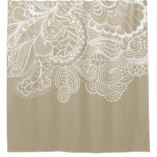 Beautiful Beige & WhiteVintage Lace shower Curtain