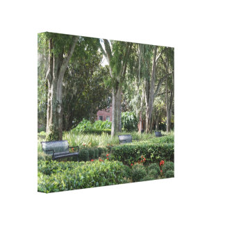 "Beautiful ""Benches in Park"" Wrapped Canvas Photo"