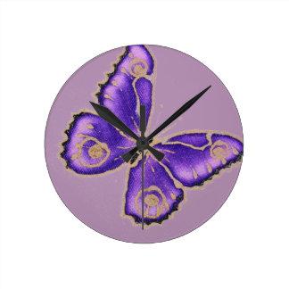 Beautiful big purple butterfly clocks
