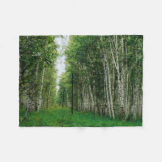 Beautiful Birch Tree Forest Art Fleece Blanket