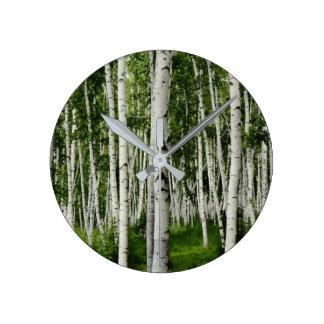Beautiful Birch Tree Forest Wallclock