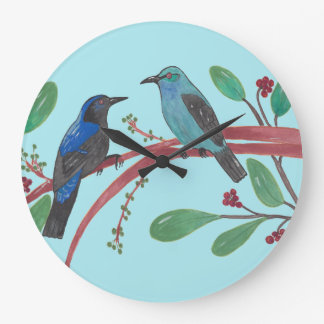 Beautiful Bird Couple Large Clock