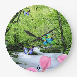 Beautiful birds and butterflies landscape Clock