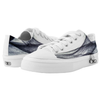 Beautiful Black and white Abstract smoke Low-Top Sneakers