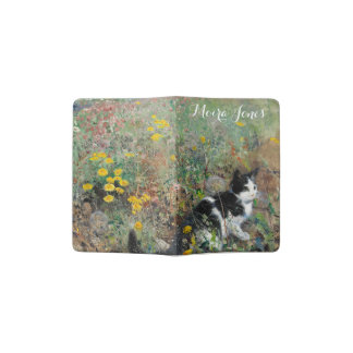 Beautiful Black and White Cat in Field of Flowers Passport Holder