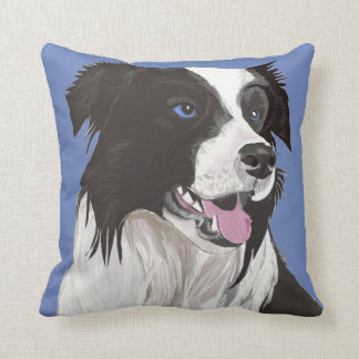 Beautiful Black and White Collie with blue eyes Throw Pillow