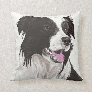 Beautiful Black and White Collie with brown eyes Throw Pillow