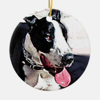 Beautiful Black and White Dog Round Ceramic Ornament