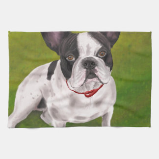 Beautiful Black and white French Bulldog on Grass Kitchen Towel