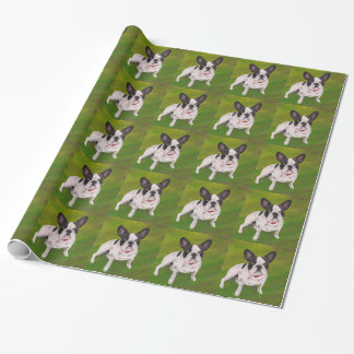 Beautiful Black and white French Bulldog on Grass Wrapping Paper