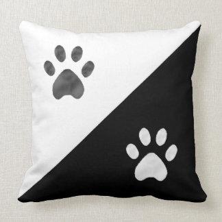 Beautiful Black and White Paws Throw Pillow