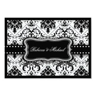 "Beautiful Black and White Vintage Damask 3.5"" X 5"" Invitation Card"
