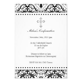 Beautiful Black and White Vintage Damask Invites