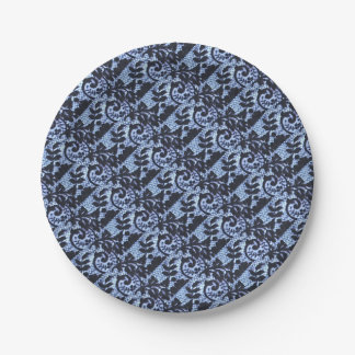 Beautiful black & blue lace fabric detail. paper plate