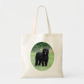 Beautiful black Briard dog shopping tote bag, gift