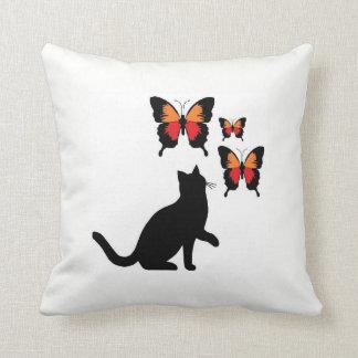 Beautiful Black Cat And Butterflies Pillow. Throw Pillow