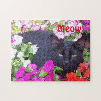 Beautiful Black Cat with Green Eyes in Flowers Jigsaw Puzzle