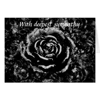 Beautiful black cemetery rose Gothic sympathy card