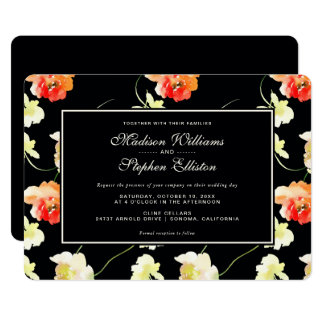 Beautiful Black Floral - Wedding Card