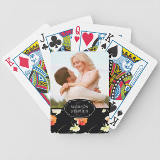 Beautiful Black Floral - Wedding Photo Bicycle Playing Cards