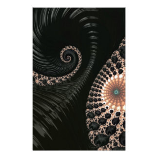 Beautiful Black Fractal Art Decor Stationery