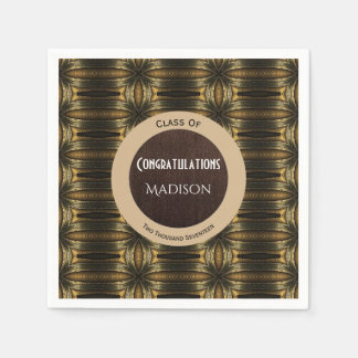 Beautiful Black & Gold Elegance Graduation Disposable Napkin