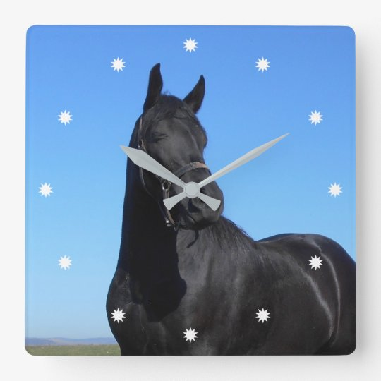 Beautiful Black Horse Square Wall Clock